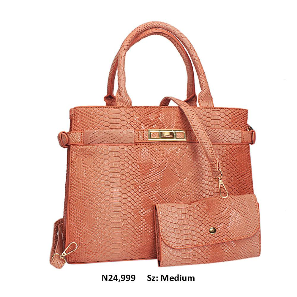 Peach Snake Skin Style Leather Tote Handbag