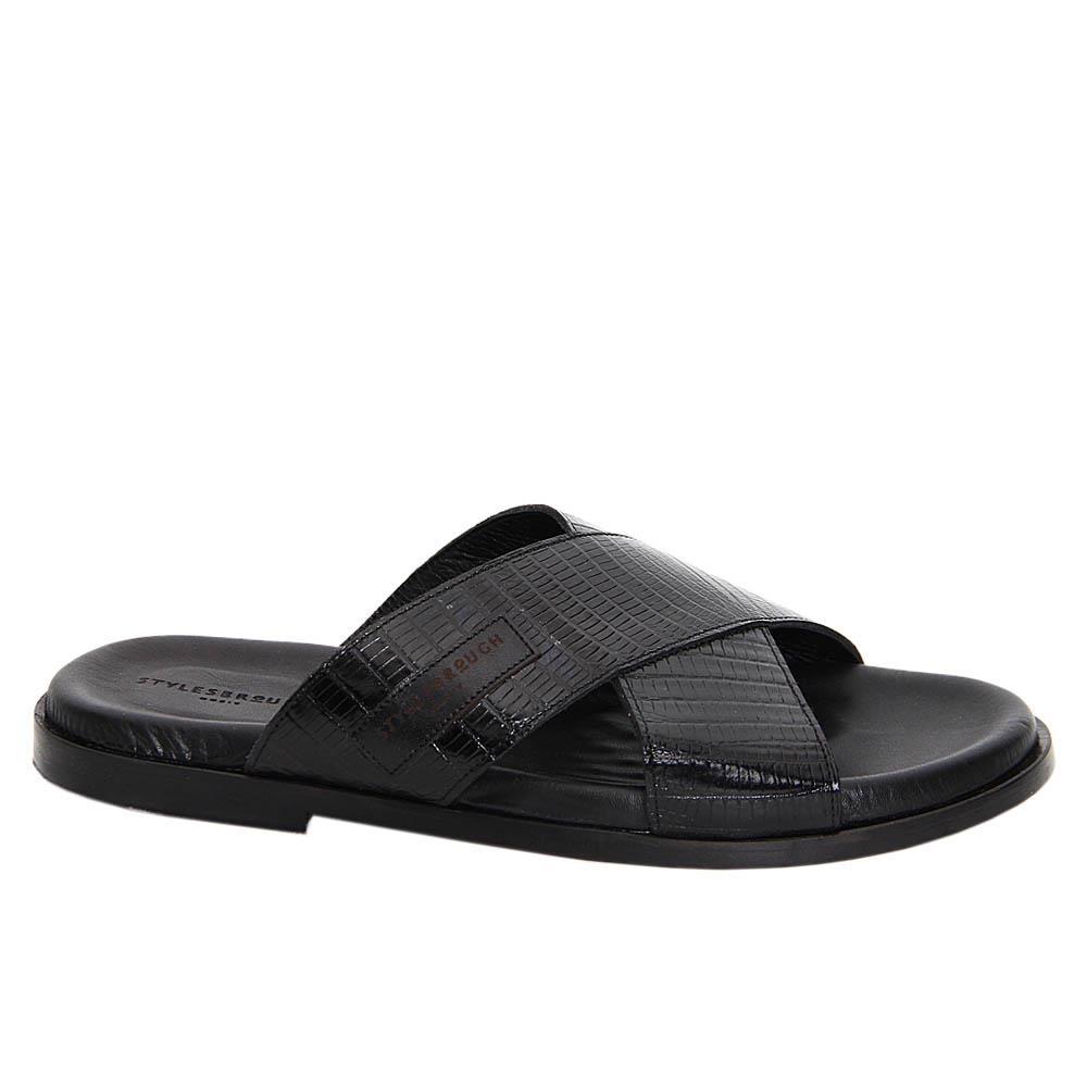 Black Fernando Italian Leather Slippers