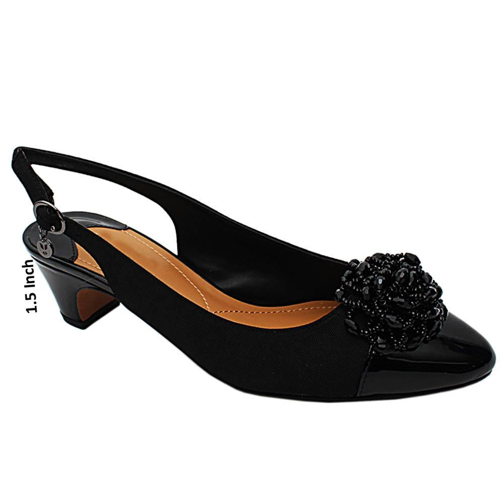 Black Zora Fabric Leather Slingback Low Heel Pumps