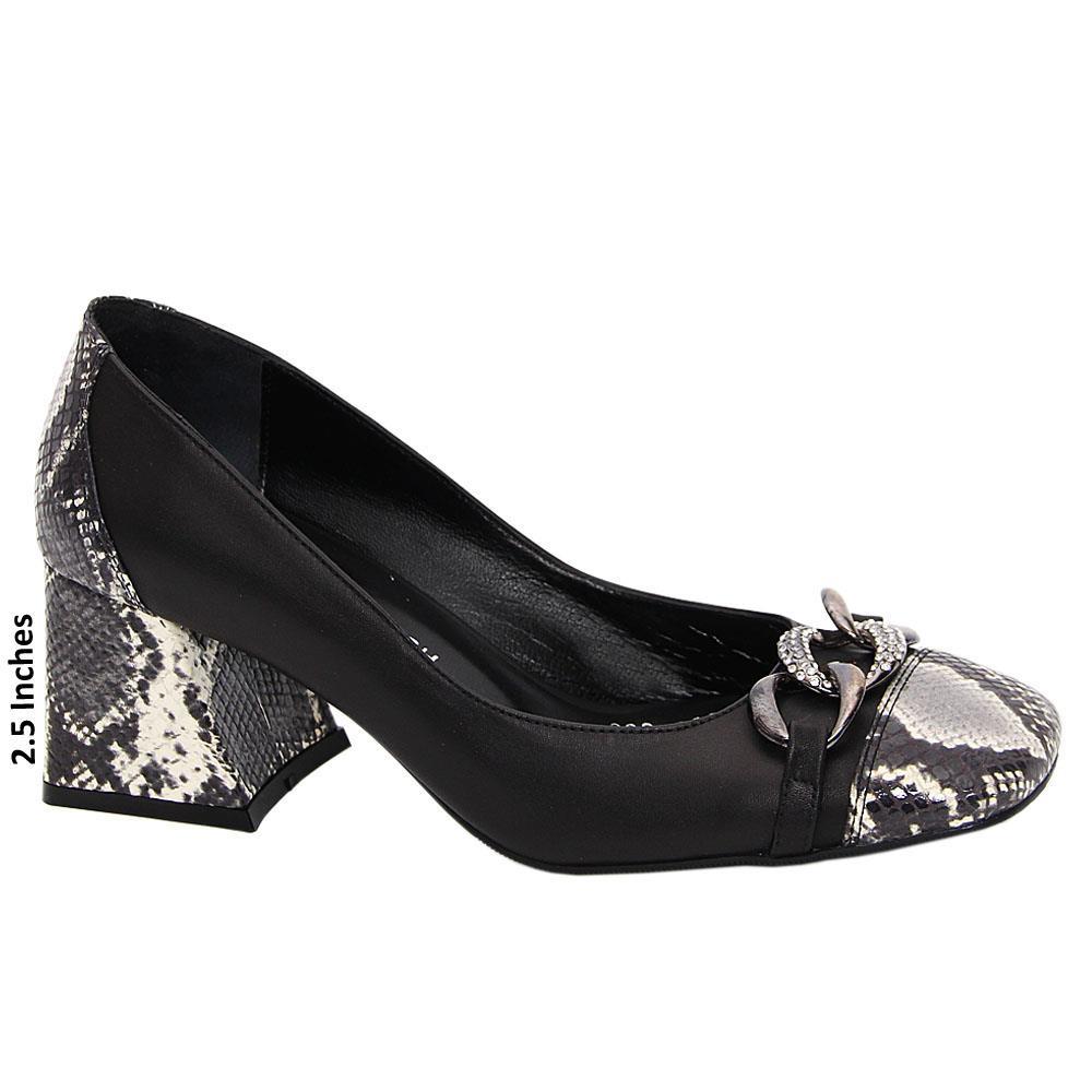 Black Mix Aurelia Tuscany Leather Mid Heel Pumps