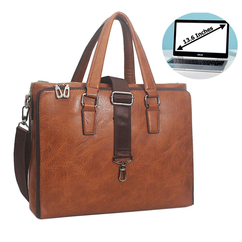 Brown Miguel Leather Triple Zipper Briefcase