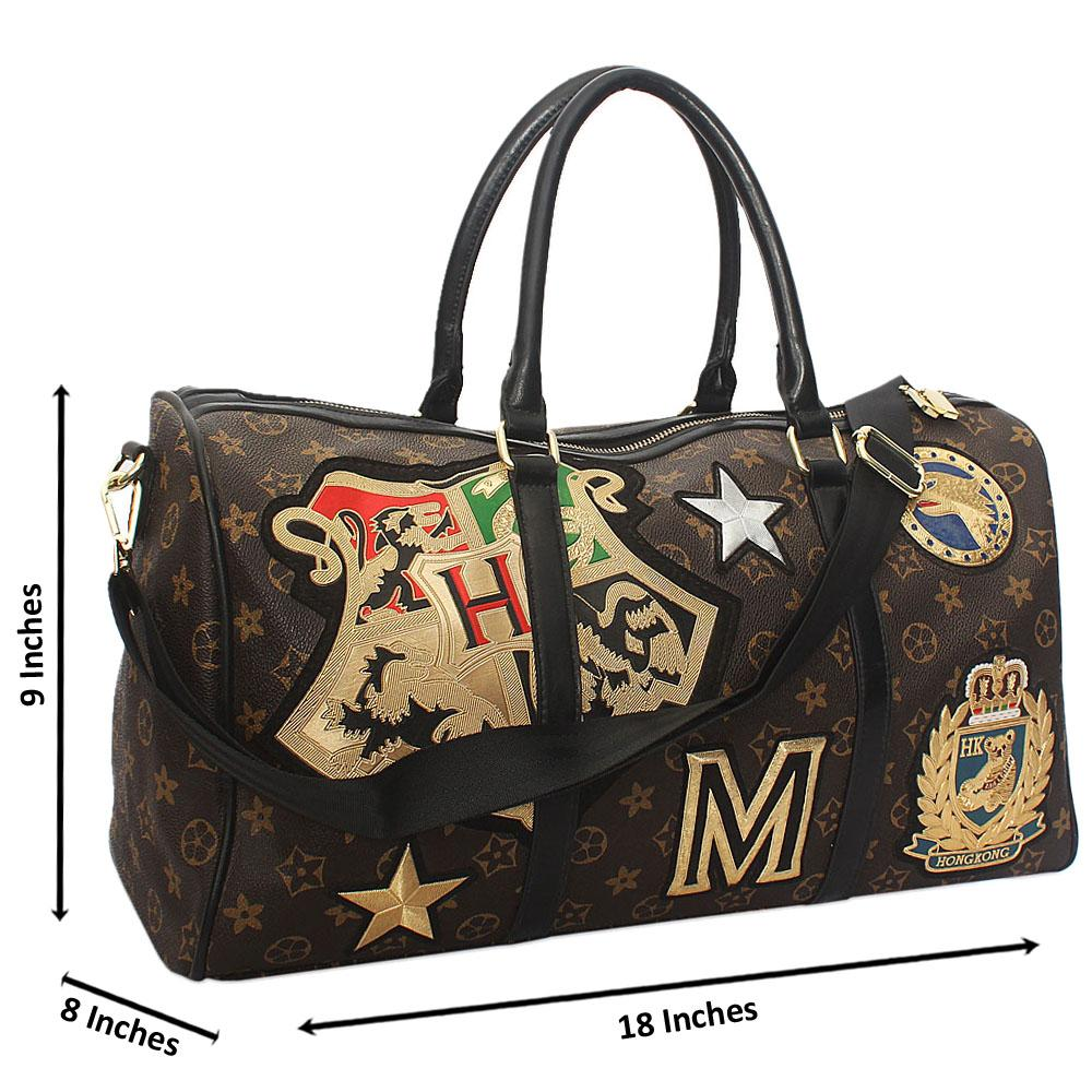 f2958b694a95 Brown Black Medals Patch Leather Small Duffel Bag