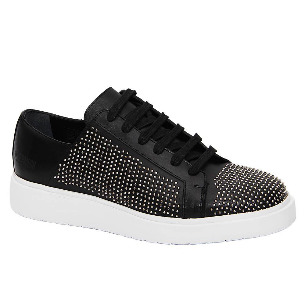 Black Jackson Studded Italian Leather Sneakers