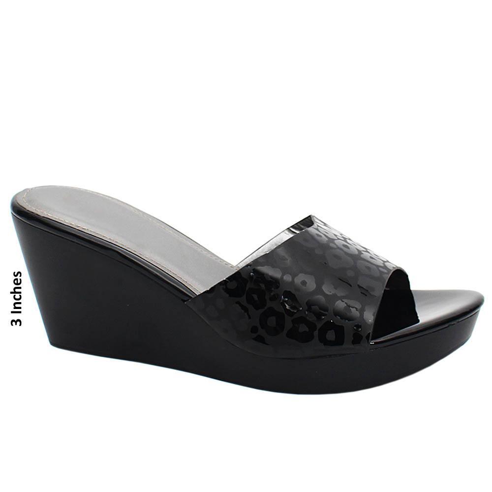 Black Monet Embossed Leather Wedge Heels