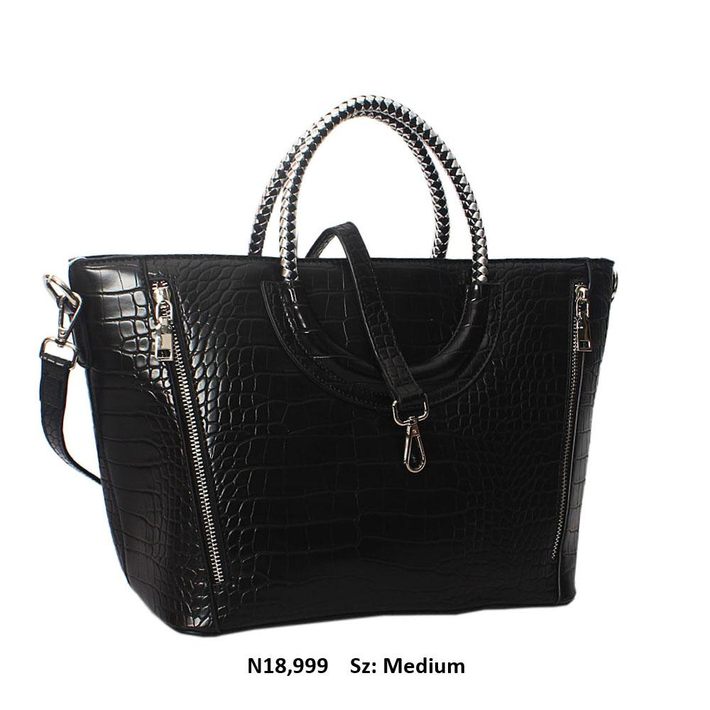 Black Megan Croc Leather Woven Handle Tote Handbag