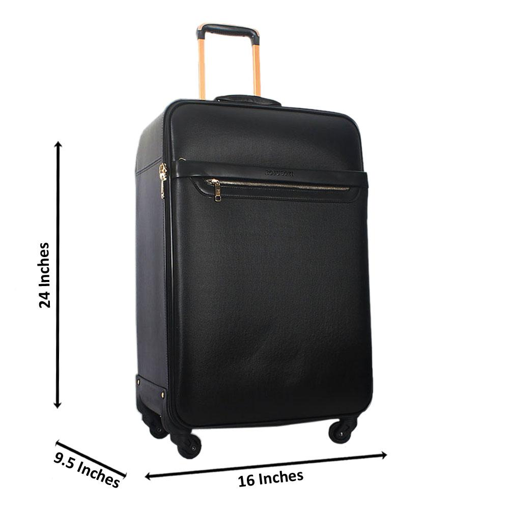 Black-24-Inch-Leather-Medium-Check-In-Luggage