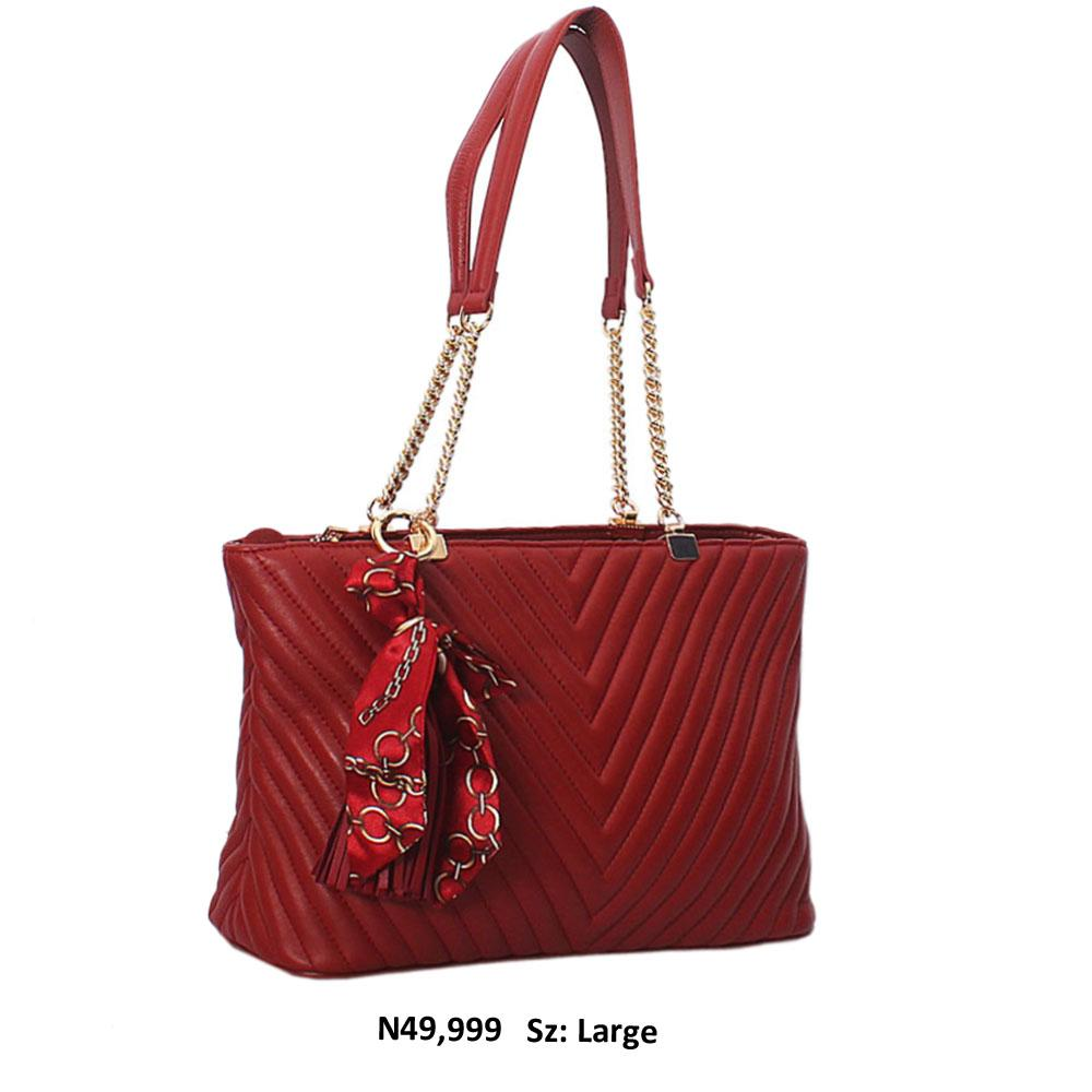 Chill Red Gaynor Leather Chain Handle Shoulder Handbag