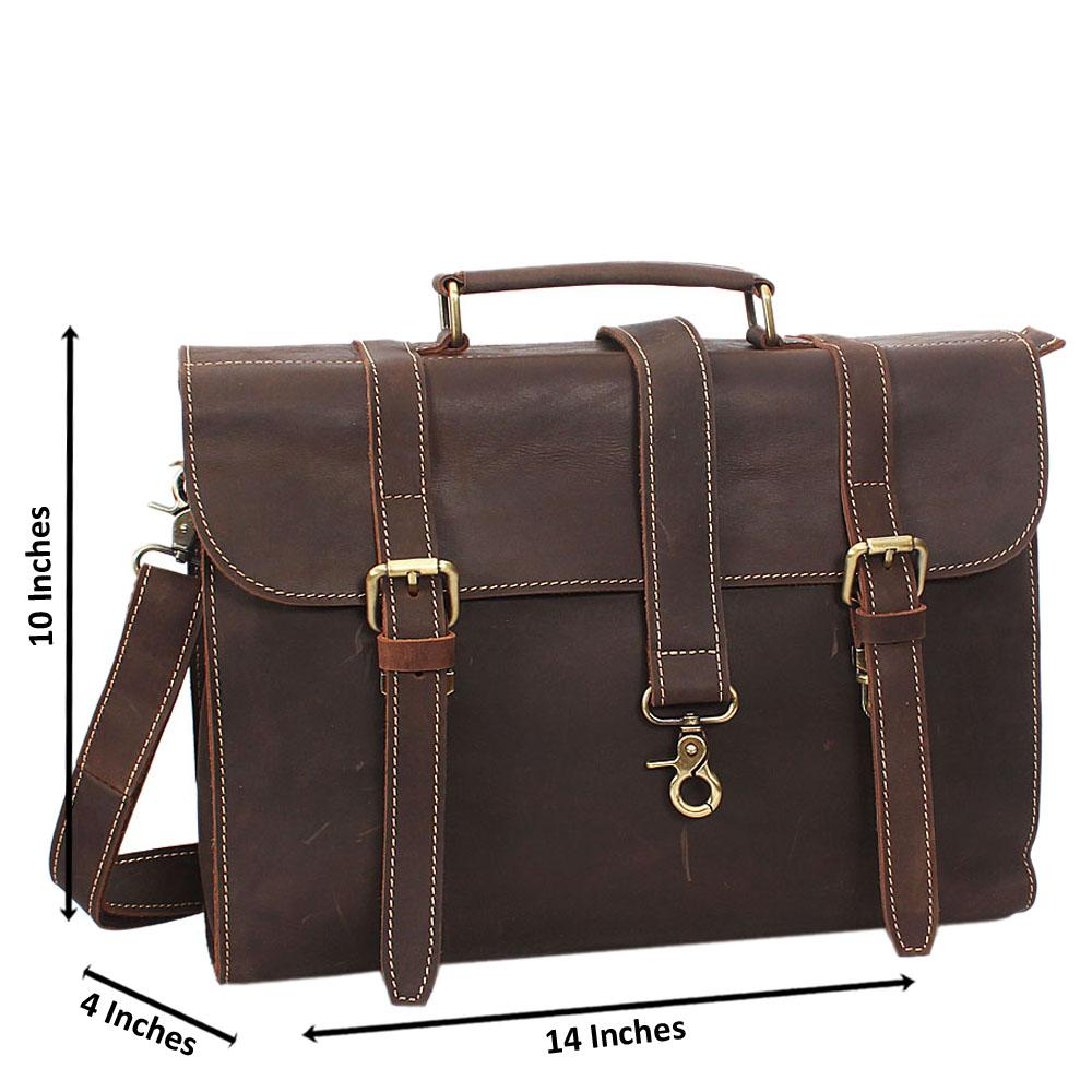 Brown Cowhide Leather Briefcase