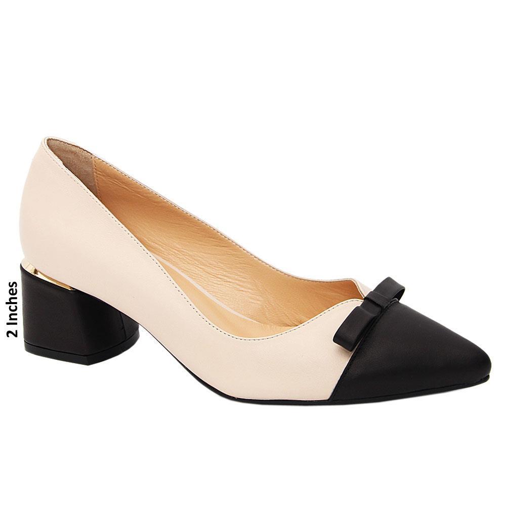 Beige Black Tessa Tuscany Leather Mid Heel Pumps