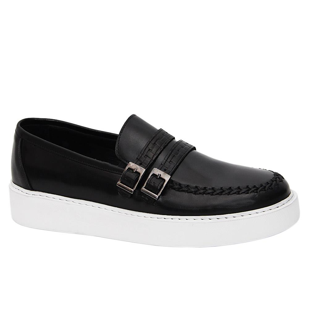 Black Matias Trent Italian Leather Slip-On Sneakers