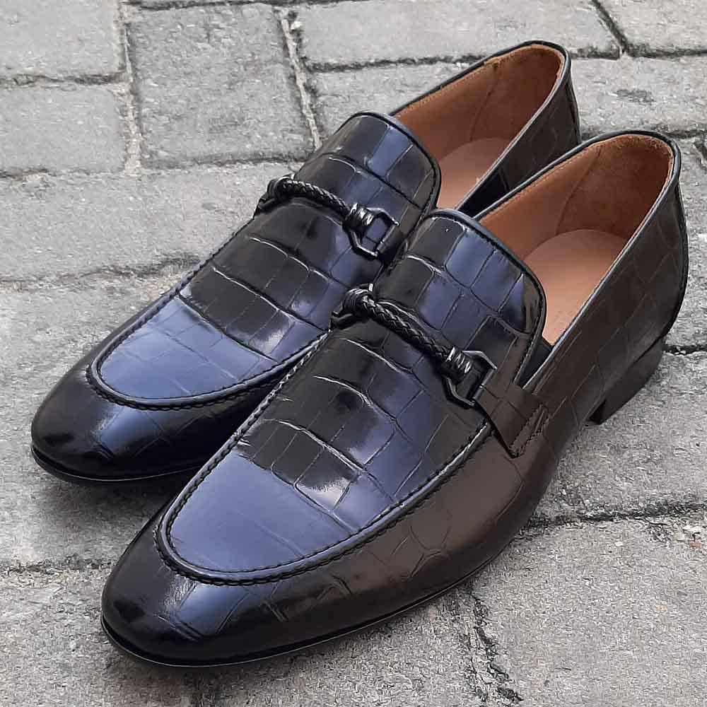 Black Fabiano Croc Italian Leather Men Horsebit Loafers