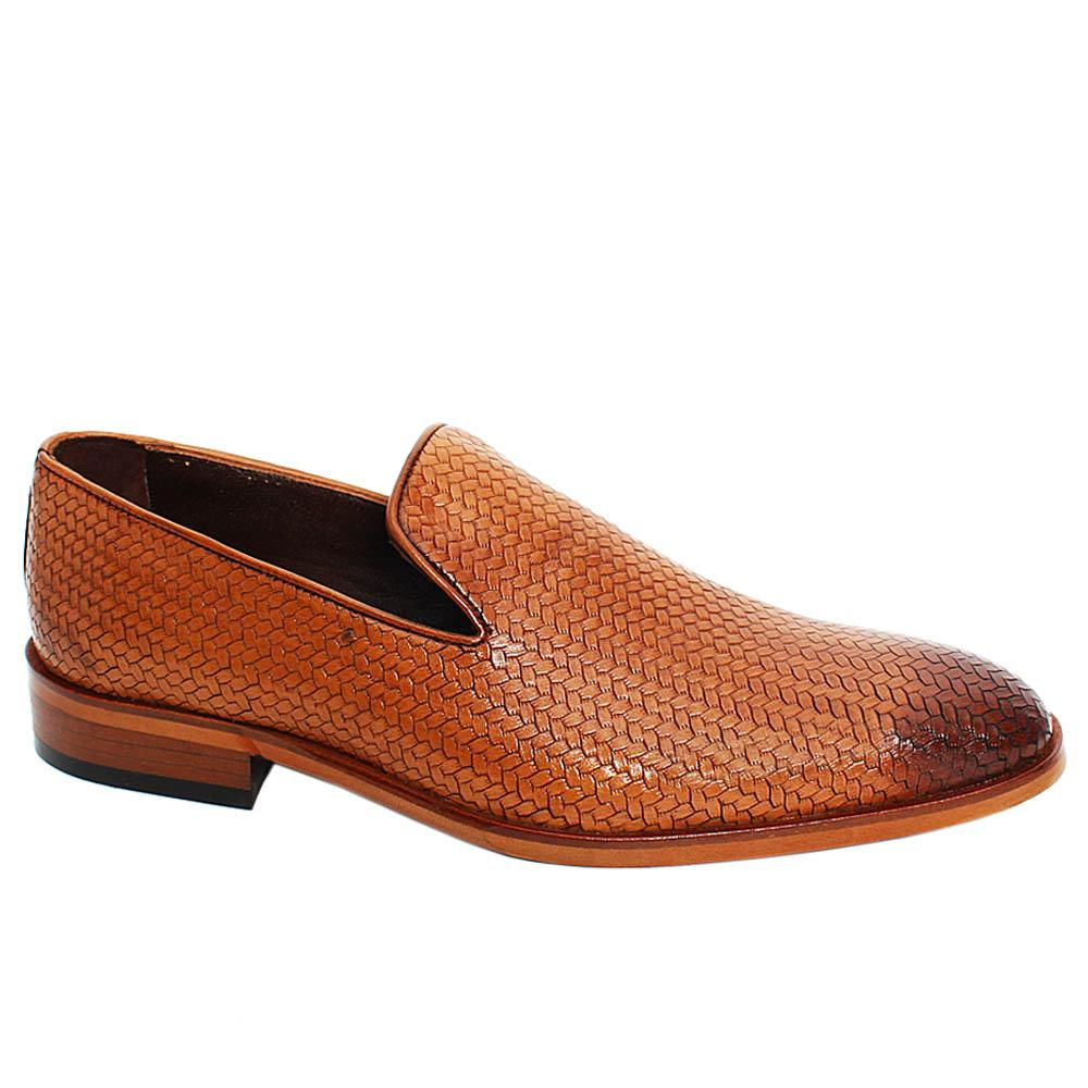 Brown Lucas Woven Styled Leather Men Penny Loafers