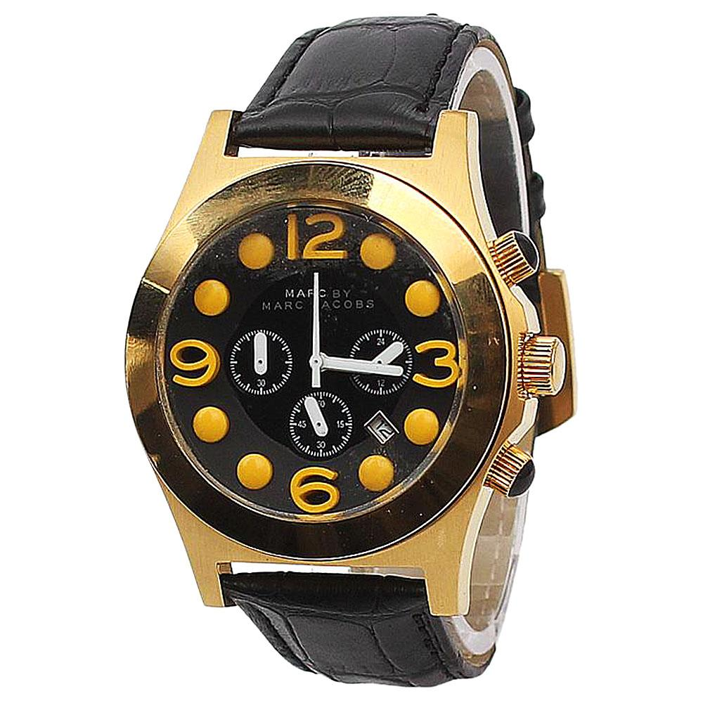 Mark Jacobs Black Leather Mens Chronograph Watch-