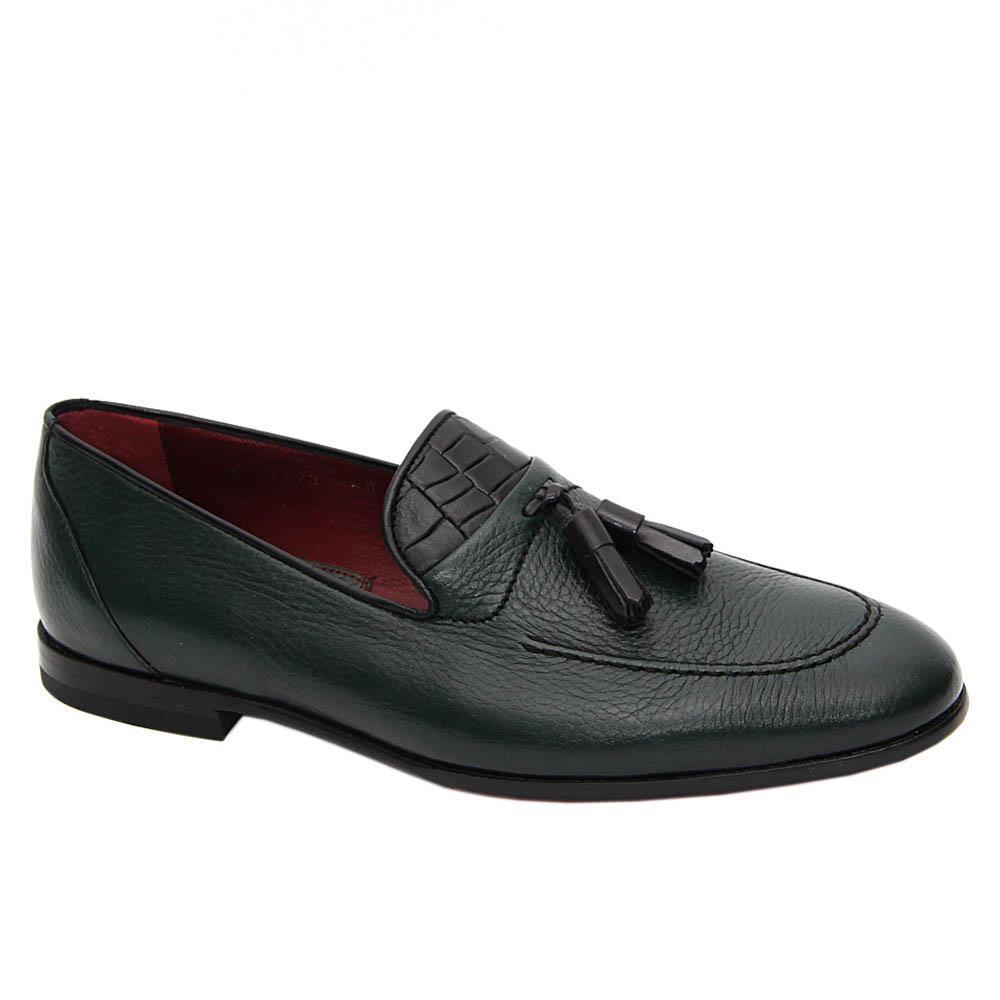 Dark Green Fiero Italian Soft Leather Tassel Loafers