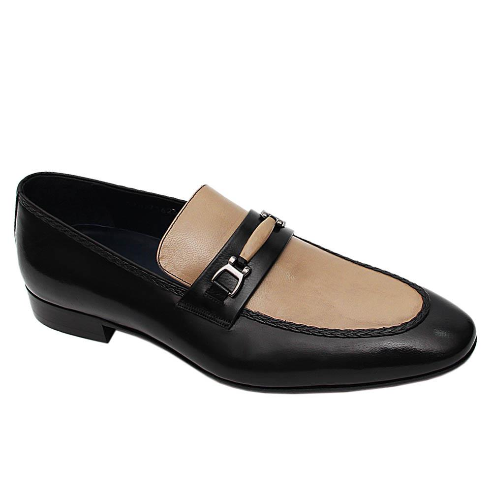 Black Biege Fabian Italian Leather Loafers
