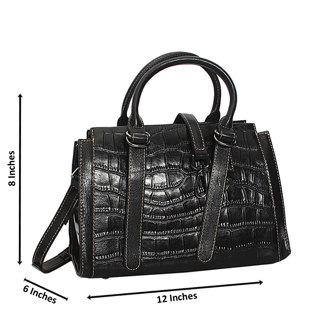 Brianna Black Croc Shining Montana Leather Small Tote Handbag