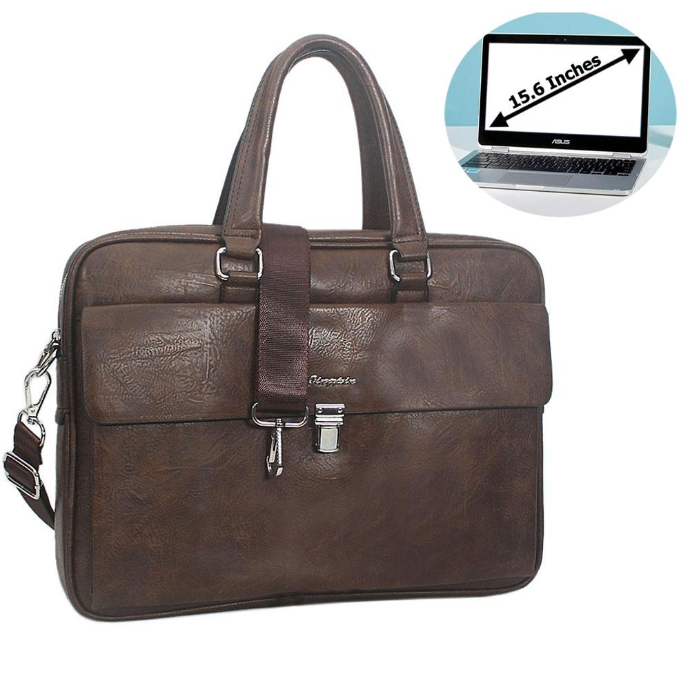 Coffee Bruno Leather Flap Buckle Briefcase
