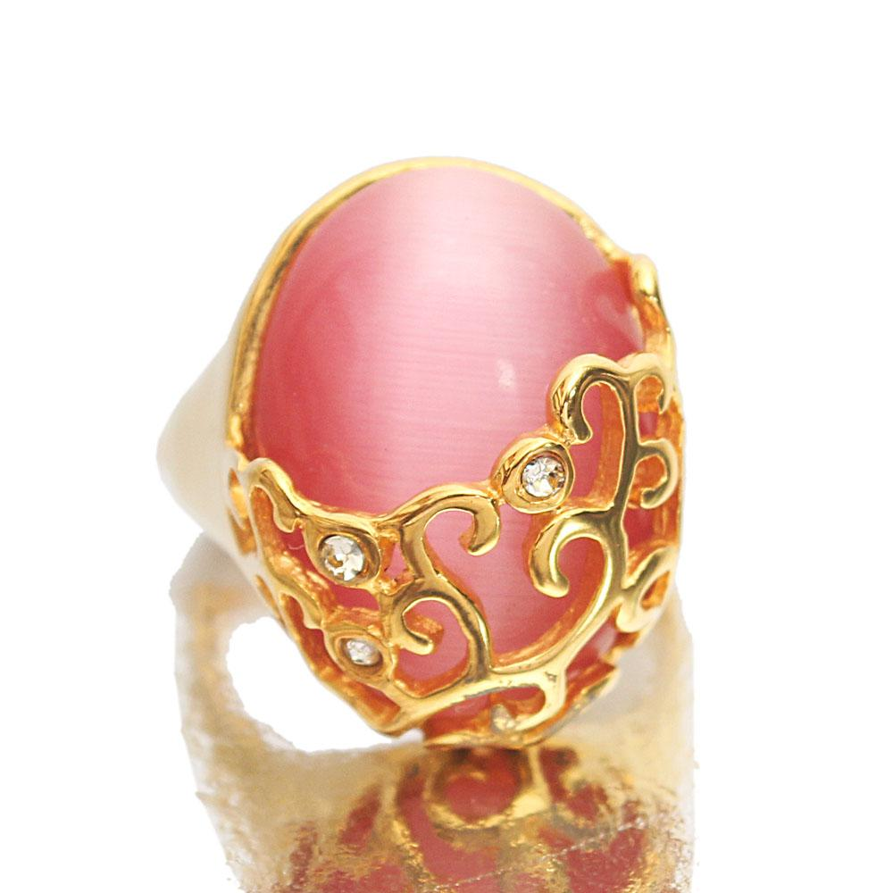 Gold Steel Pink Stone Classic Ladies Ring Sz L