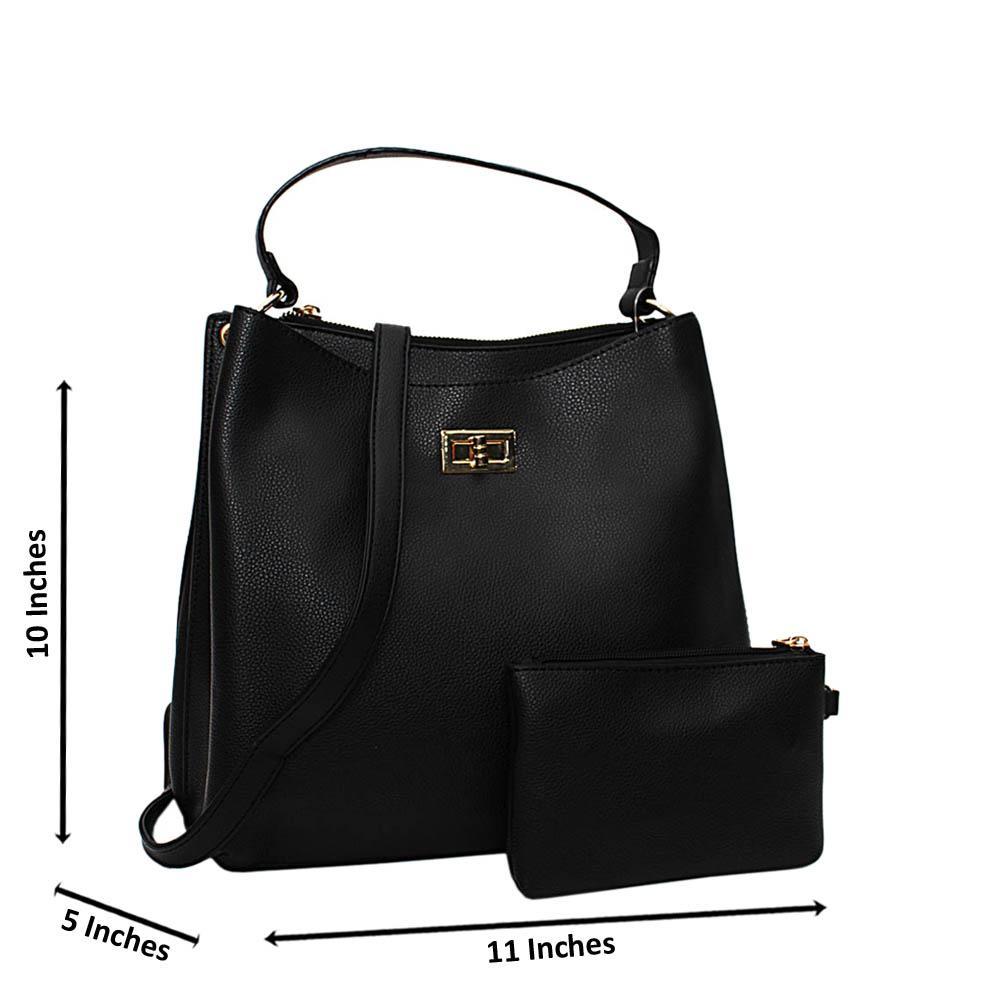 Black Hazel Leather Medium Top Handle Handbag