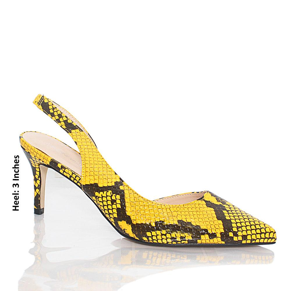 Yellow Snake Skin Styled Leather Heel