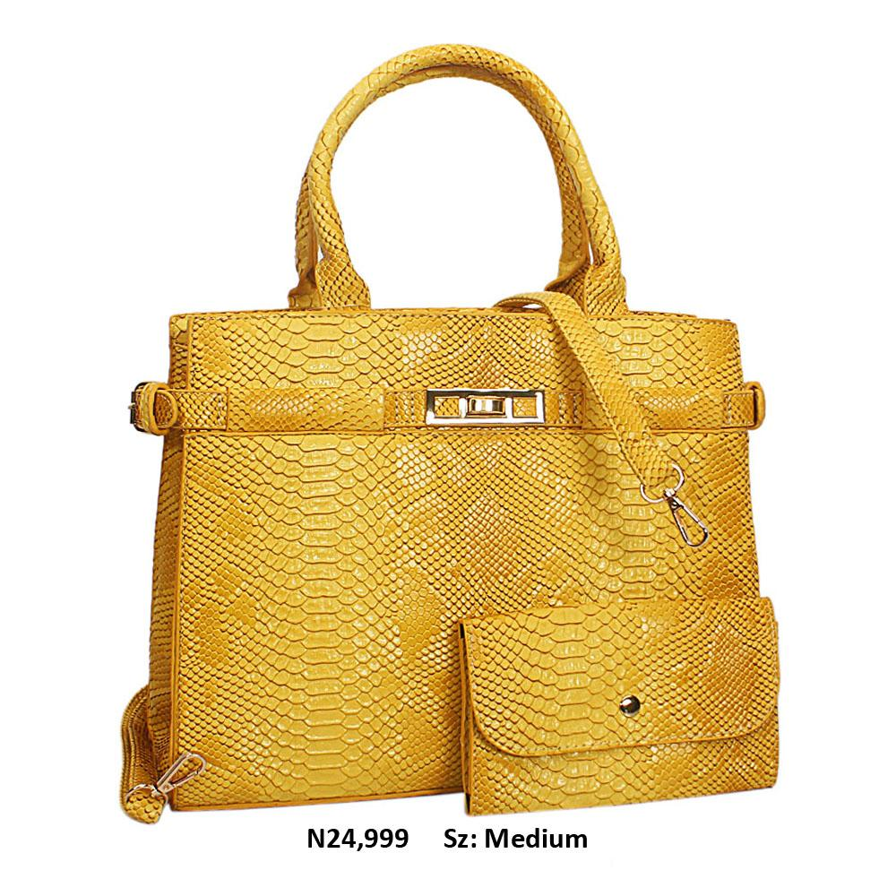 Yellow Snake Skin Style Leather Tote Handbag