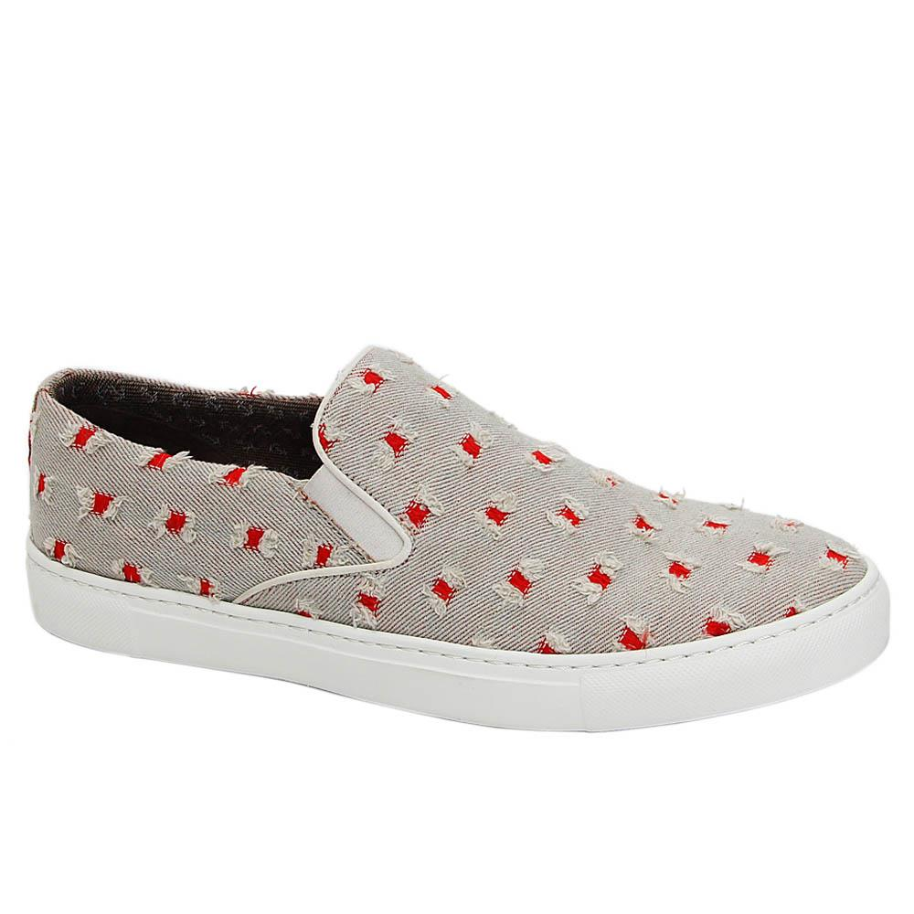 Gray Donatello Denim Fabric Slip-On Loafers