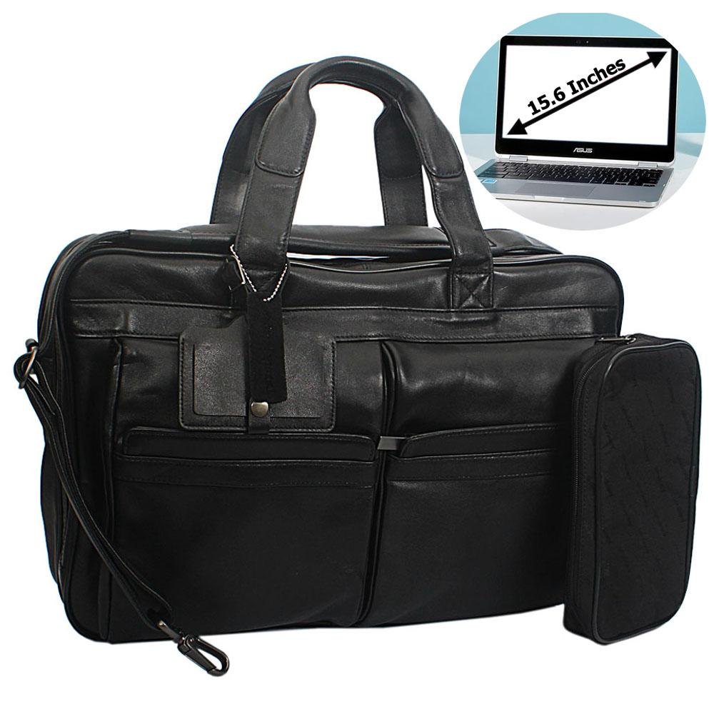 Black Leather BusinesTravel Bag