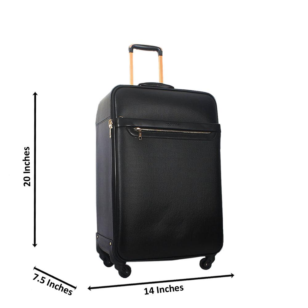 Black 20 Inch Leather Small Hand Luggage