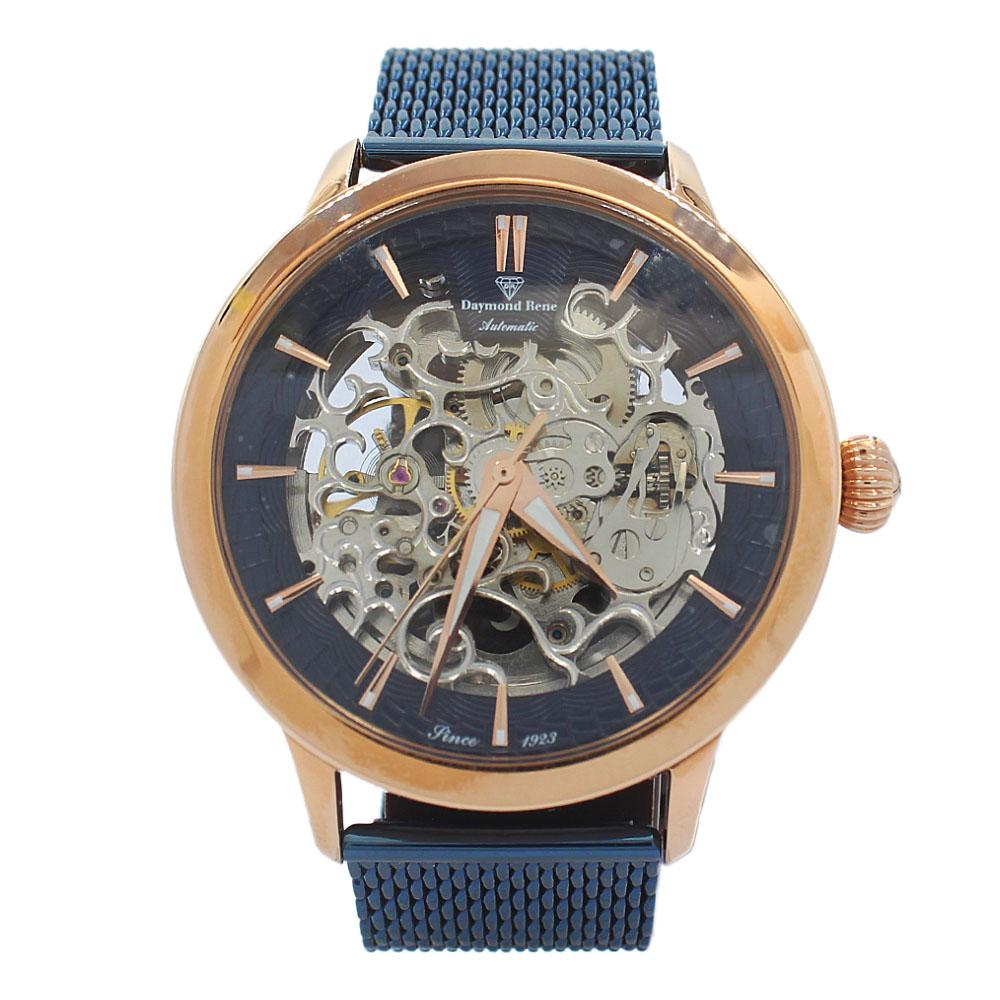 DR 3ATM Rose Gold Blue Mesh Skeletal Automatic Watch
