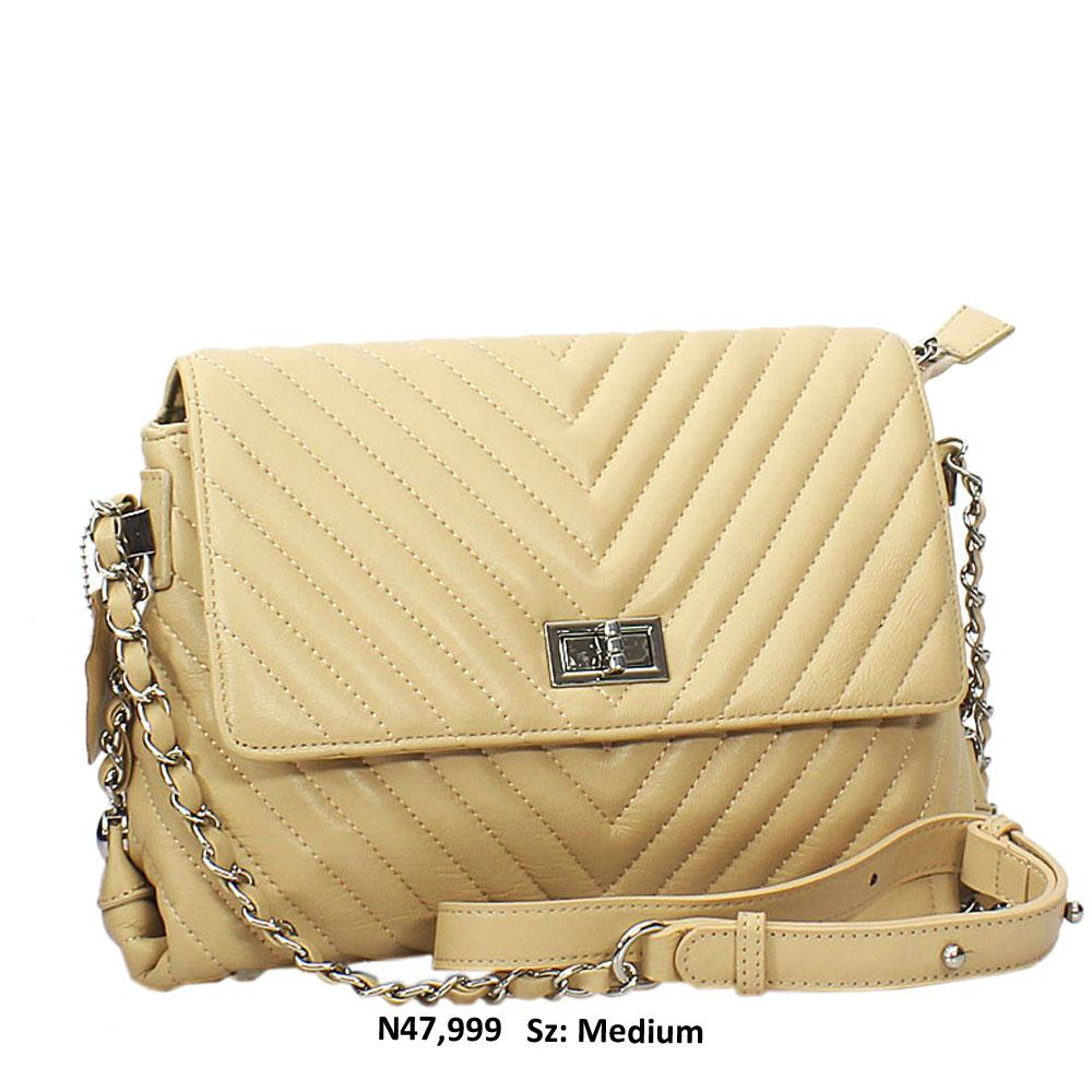 Beige Addah Leather Crossbody Handbag