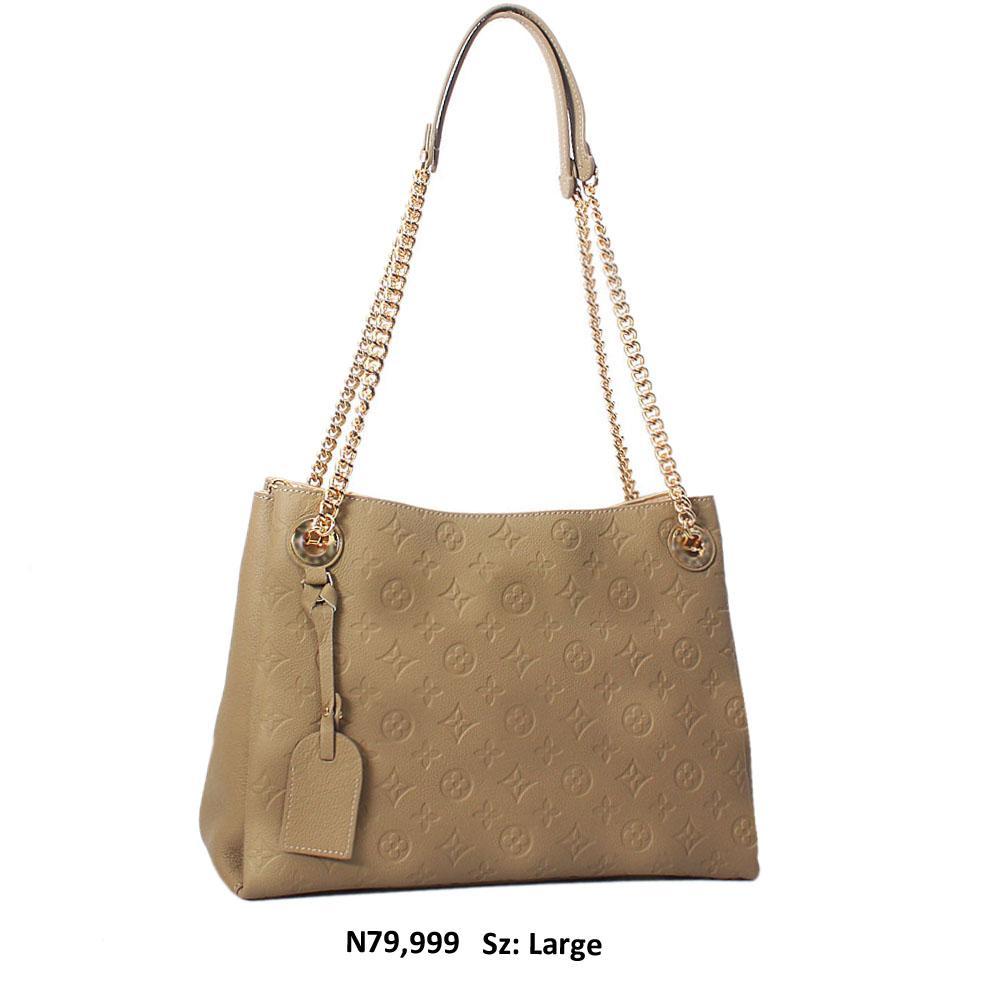 Khaki Briony Leather Chain Handle Shoulder Handbag