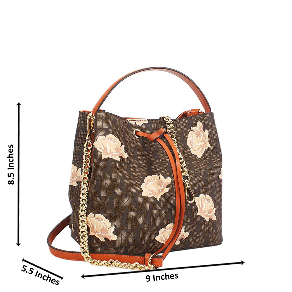 Brown Flora Print Leather Small Top Handle Handbag