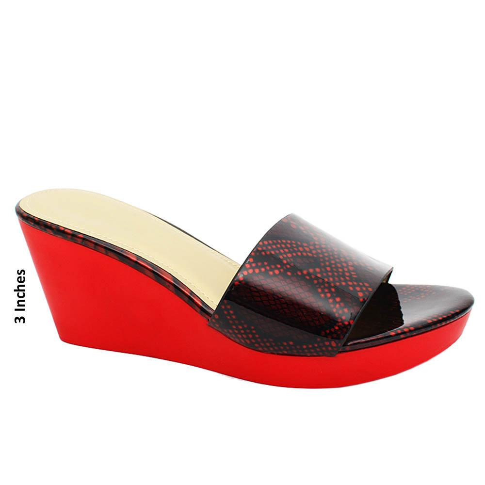 Red Solange Snake Print Patent Leather Wedge Heels