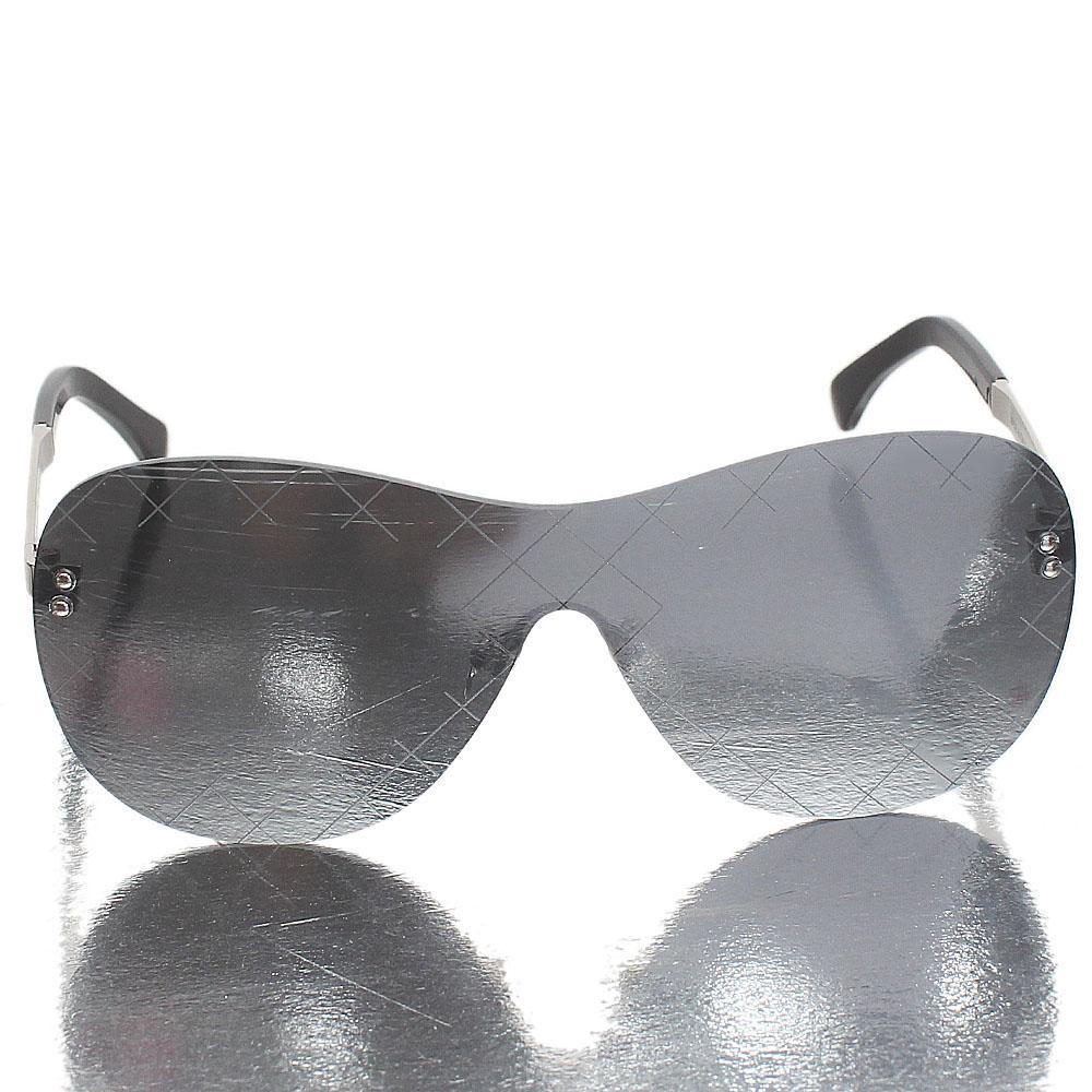 Silver Black Shield Metallic Polarized Lens Glasses