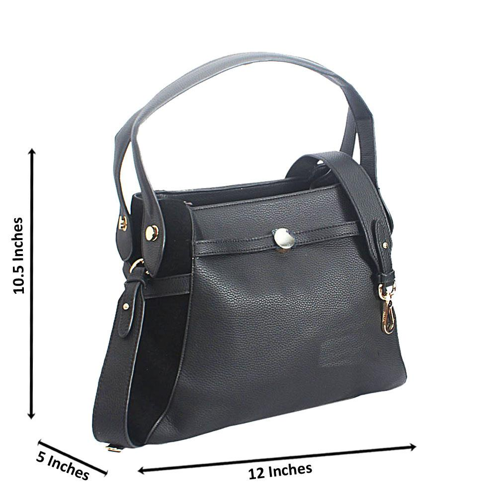 Black Allegra Leather Tote Handbag