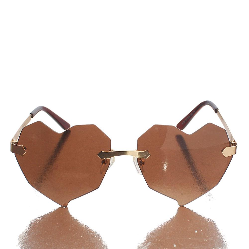 Gold Heart Brown Lens Sunglasses