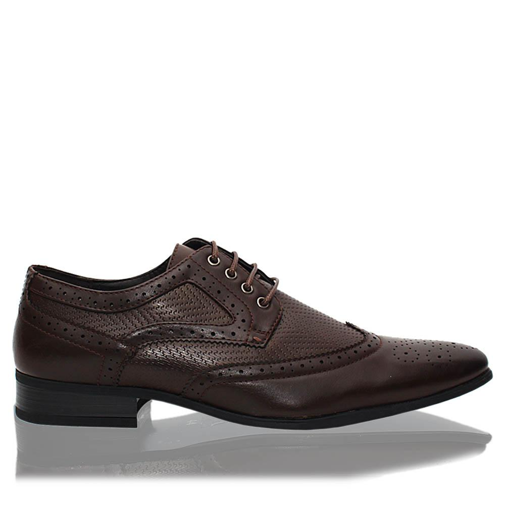 Coffee Scott Leather Men Derby Shoes