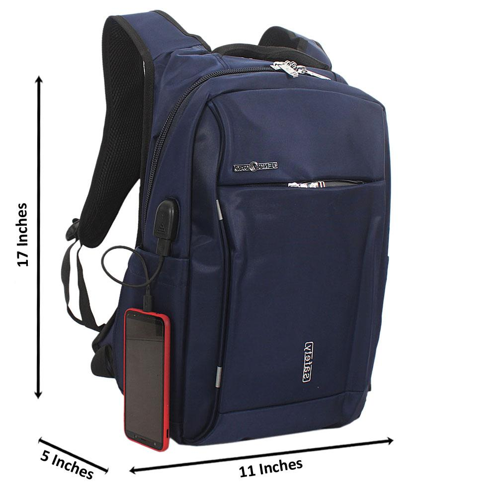 Blue Waterproof Fabric Laptop Backpack wt USB Connector