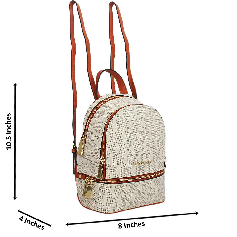 Cream Brown Print Jemma Leather Small Backpack