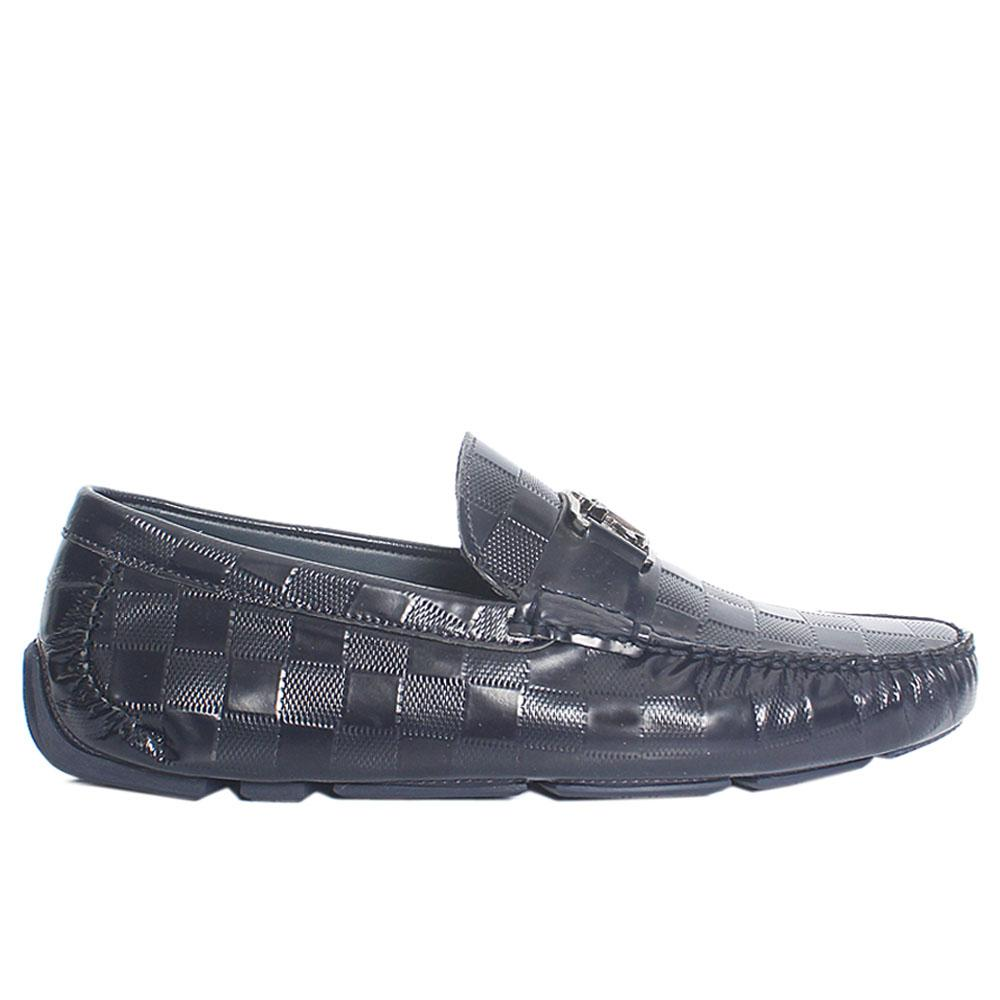 Navy Check Styled Patent Italian Leather Loafers