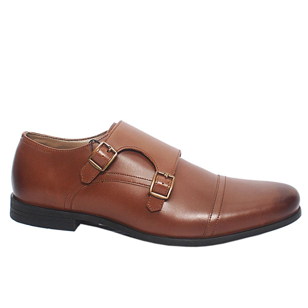 Brown Comfort Fit Leather Men Monk Strap Shoes