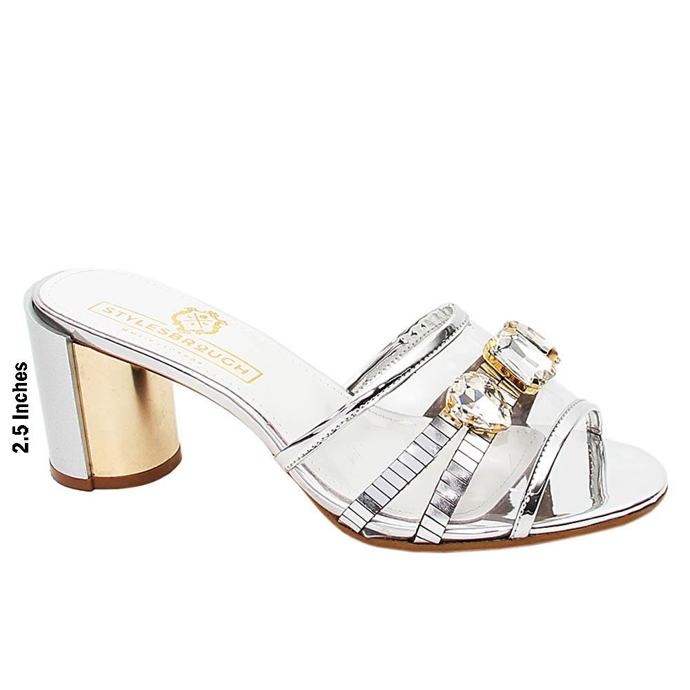 Silver Catalina Italian Leather High Heel Mule