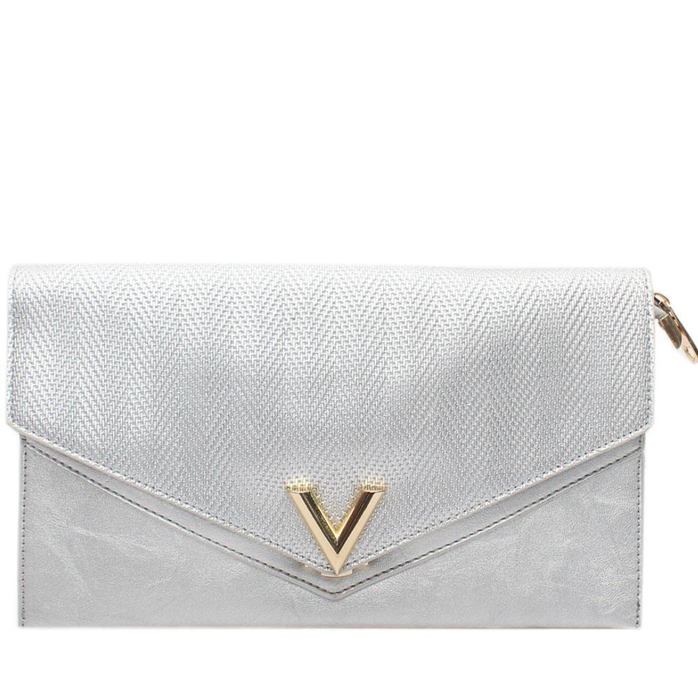 Silver Virtigo Leather Flat Purse