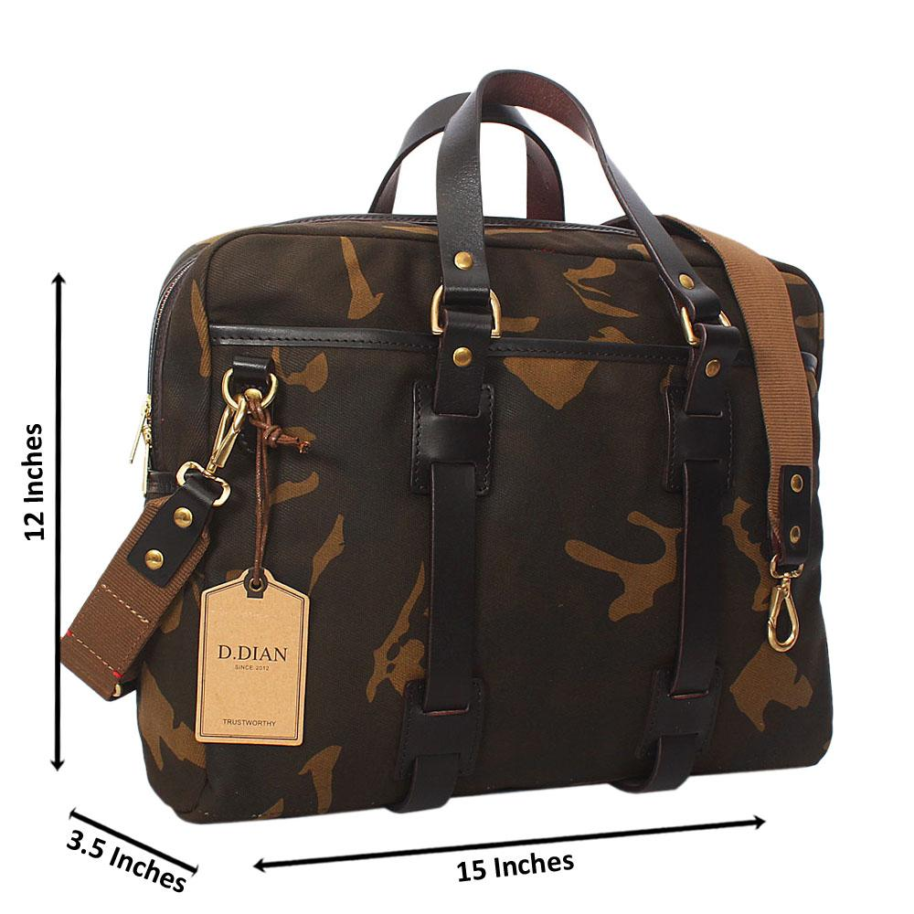 Camo Water Proof Khaki Leather Mix Triple Briefcase