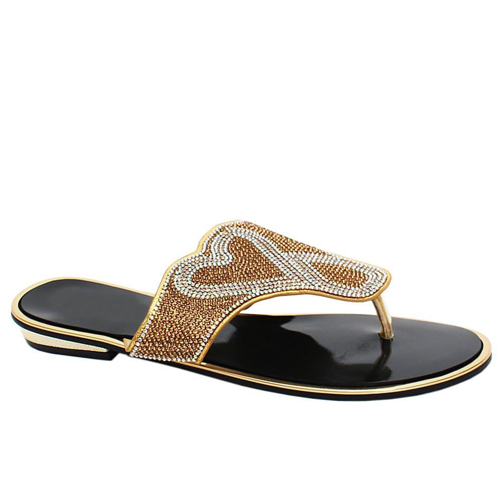 Gold Ella Studded Leather Ladies Flat Slippers