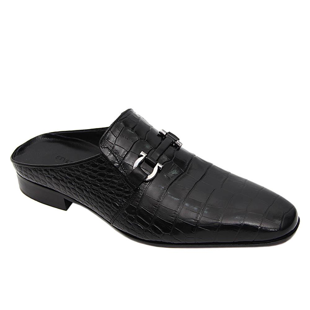 Black Dante Italian Leather Half Shoe Slippers