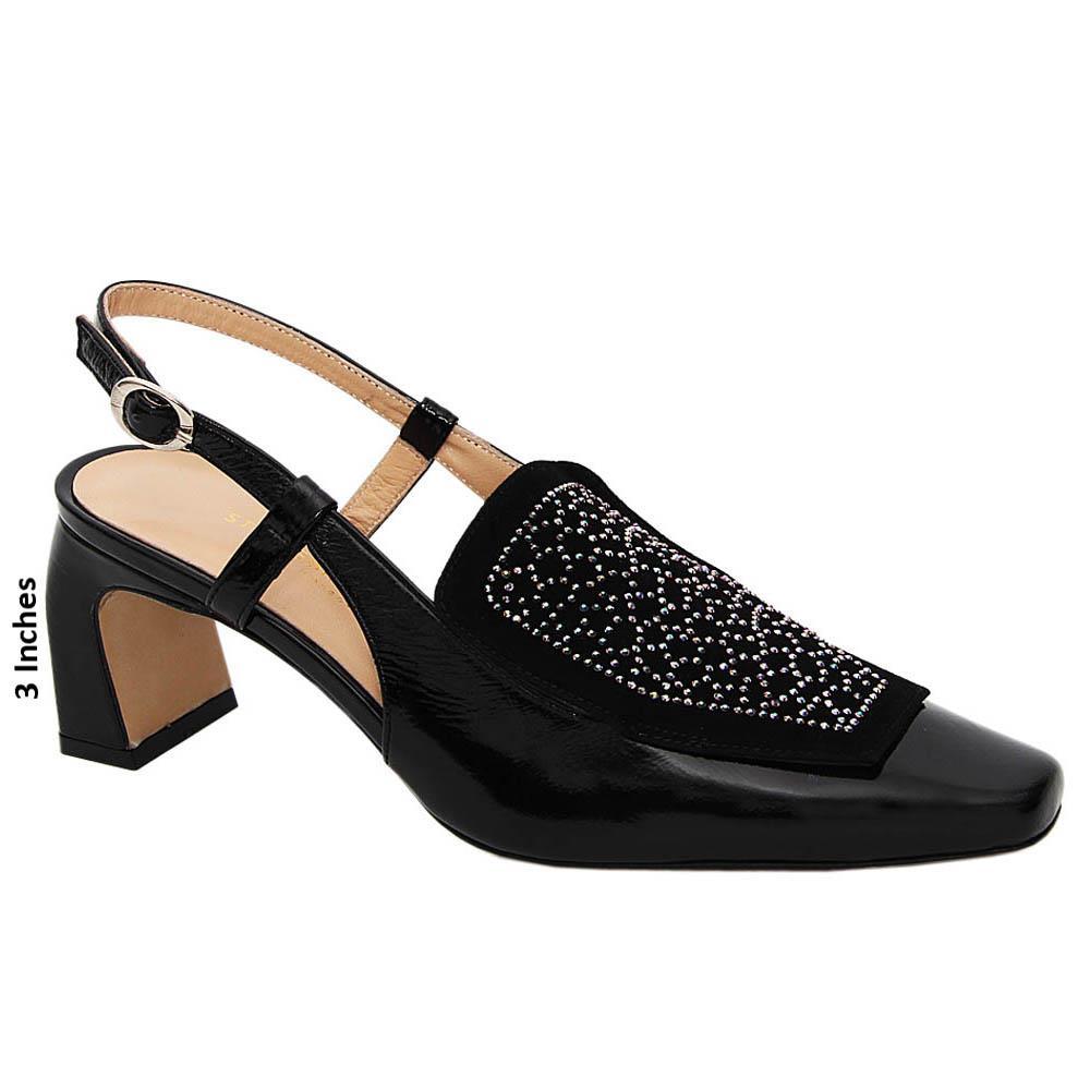 Black Zoe Tuscany Leather High Heel Slingback Pumps