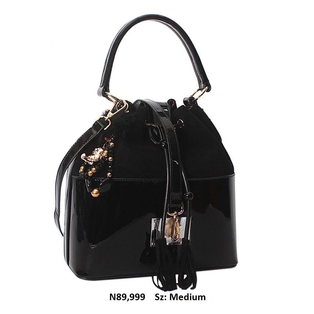 Nessa Black Suede Patent Cowhide Leather Shoulder Handbag