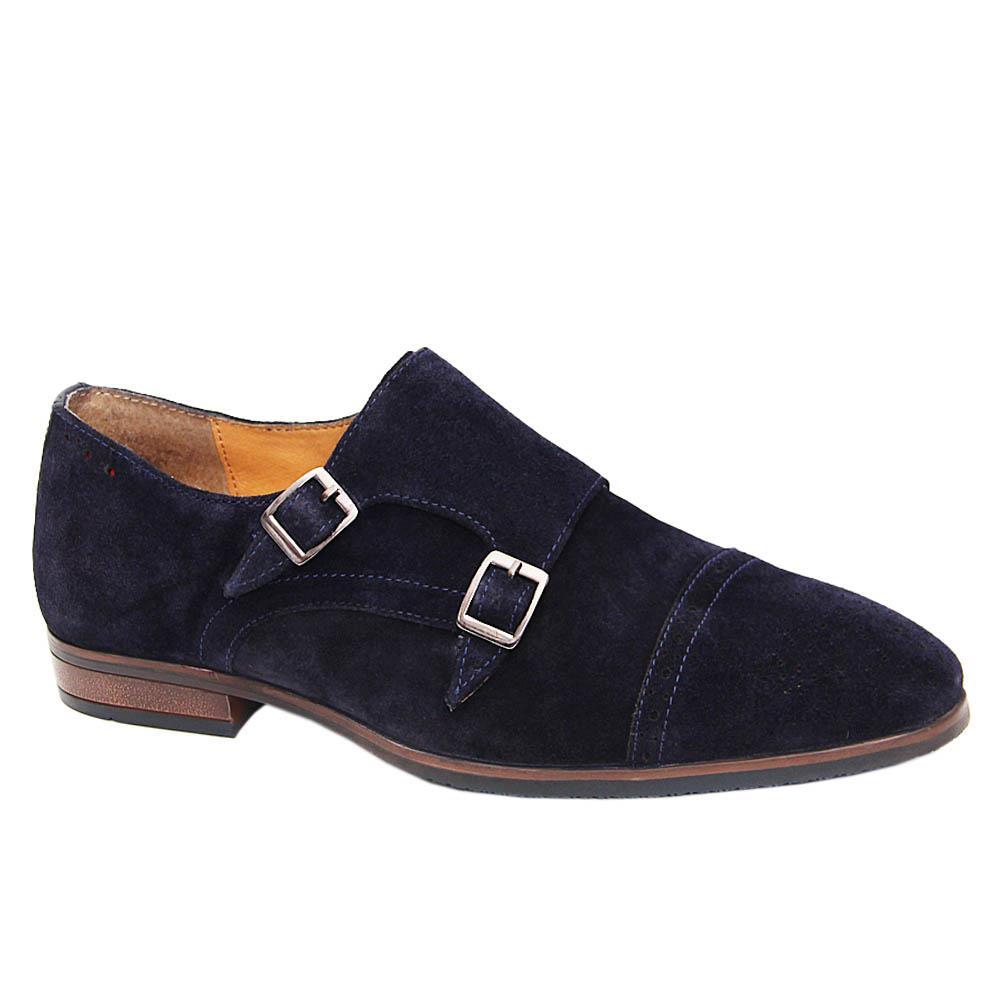 K Geiger Navy Blake Suede Leather Monk Strap Shoe