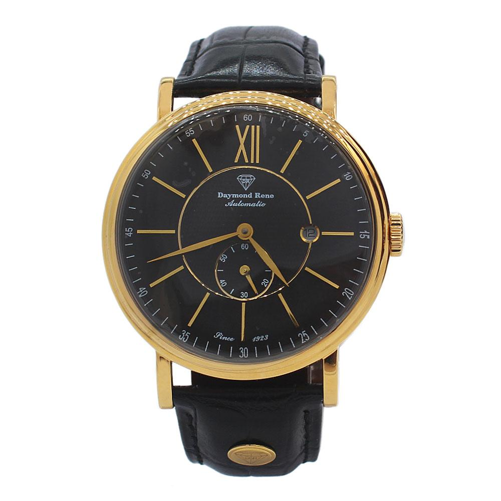 Gold Black Leather Automatic Watch